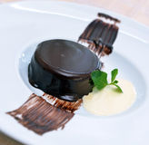 Panna Cotta with chocolate Royalty Free Stock Photo
