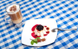 Panna cotta and coffee Stock Photography