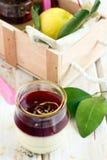 Panna cotta dessert. With berries Stock Photo