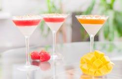 Panna cotta dessert with fruit jelly. Stock Photo