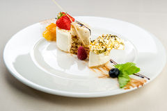 Panna Cotta dessert. Luscious Panna Cotta dessert close-up Royalty Free Stock Image
