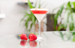 Panna cotta dessert with strawberry jelly. Royalty Free Stock Image