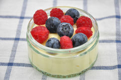 Panna Cotta. Dessert with vanilla pudding and fresh berries stock photography