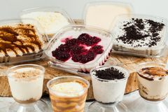 Panna cotta - desserts of different flavors and presentation.  stock photo
