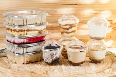 Panna cotta - desserts of different flavors and presentation.  stock image
