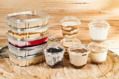 Panna cotta - desserts of different flavors and presentation stock images