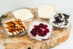 Panna cotta - desserts of different flavors and presentation.  stock photos