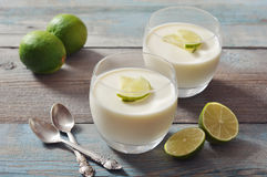 Panna cotta with fresh lime Stock Photos