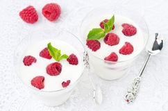 Panna cotta with fresh raspberries in glasses, top view Stock Photos