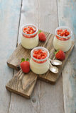 Panna cotta with fresh strawberry Stock Image
