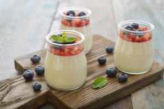 Panna cotta with fresh strawberry Stock Photos