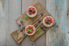 Panna cotta with fresh strawberry Royalty Free Stock Photos