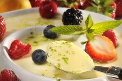 Panna cotta with fruit Royalty Free Stock Photography
