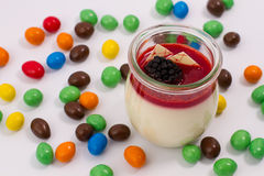 Panna cotta with fruits Royalty Free Stock Images