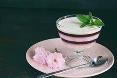 Panna Cotta Gelaagd de bessendessert van de vanillemelk Pannacotta in glas met aardbeijello Traditioneel Italiaans dessert Exempl royalty-vrije stock foto