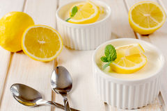 Panna cotta with lemon Stock Image