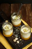 Panna cotta with mango puree Royalty Free Stock Photo