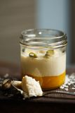 Panna cotta with mango puree Royalty Free Stock Images