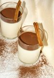 Panna-Cotta mit cocao Pulver stockfotos