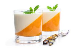 Panna cotta with orange jelly in clear glass isolated on white. Panna  cotta with orange jelly in clear glass isolated on white stock image