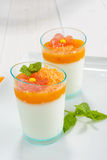 Panna cotta with orange mousse Royalty Free Stock Photography