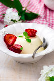 The panna cotta  with plum sauce Stock Photography