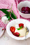 The panna cotta  with plum sauce Royalty Free Stock Images