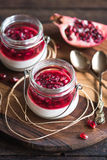 Panna Cotta with pomegranate Royalty Free Stock Photography