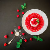 Panna cotta with raspberries syrup in a plate on a dark background, traditional italian dessert. Flat lay. Top view Royalty Free Stock Photo