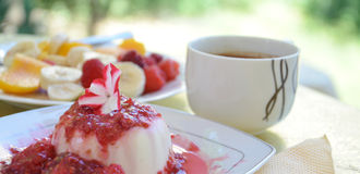 Panna Cotta with raspberry sauce. Picture of a Panna Cotta with raspberry sauce.Morning with sweet fresh panna cotta, cup of coffee Royalty Free Stock Photos
