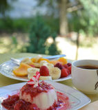 Panna Cotta with raspberry sauce. Picture of a Panna Cotta with raspberry sauce.Morning with sweet fresh panna cotta, cup of coffee Stock Images