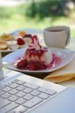 Panna Cotta with raspberry sauce Stock Photo