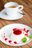 Panna cotta with Raspberry Sauce Stock Photography