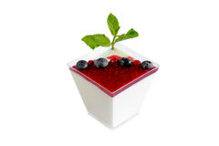 Panna cotta with raspberry Stock Photography