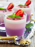 Panna cotta with strawberries Royalty Free Stock Photography