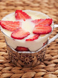 Panna cotta with strawberries Royalty Free Stock Image