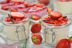 Panna cotta with strawberries Stock Photography