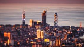 Panna för solnedgångtimelapseBatumi cityscape upp arkivfilmer