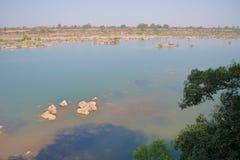 Panna flod och rivebed på Panna National Park, Madhya Pradesh, Indien Royaltyfri Foto