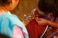 - panna młoda do henny hindusa ślub Obraz Royalty Free