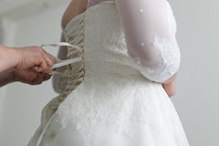panna młoda gorsetu sukienkę na ślub Zdjęcia Stock