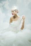 Panna młoda nad nieba tłem ilustracyjny lelui czerwieni stylu rocznik Fotografia Stock