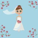 Panna młoda trzyma ślubnego bukiet w białej sukni Obraz Royalty Free