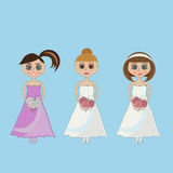 Panna młoda trzyma ślubnego bukiet w białej sukni Zdjęcie Stock