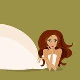 Panna młoda w białej sukni również zwrócić corel ilustracji wektora Fotografia Royalty Free