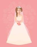 Panna młoda w długiej ślubnej sukni z bukietem kwiaty royalty ilustracja