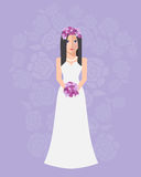 Panna młoda w długiej ślubnej sukni z bukietem kwiaty ilustracji