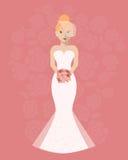 Panna młoda w długiej ślubnej sukni z bukietem kwiaty ilustracja wektor