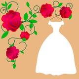 Panna młoda w eleganckiej ślubnej sukni Odosobniona wektorowa ilustracja w mieszkanie stylu Młoda ładna dziewczyna w białej nowoż ilustracji
