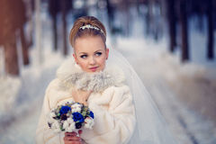 Panna młoda w futerkowym żakiecie z bukietem i przesłona w zima śnieżnym lesie fotografia stock